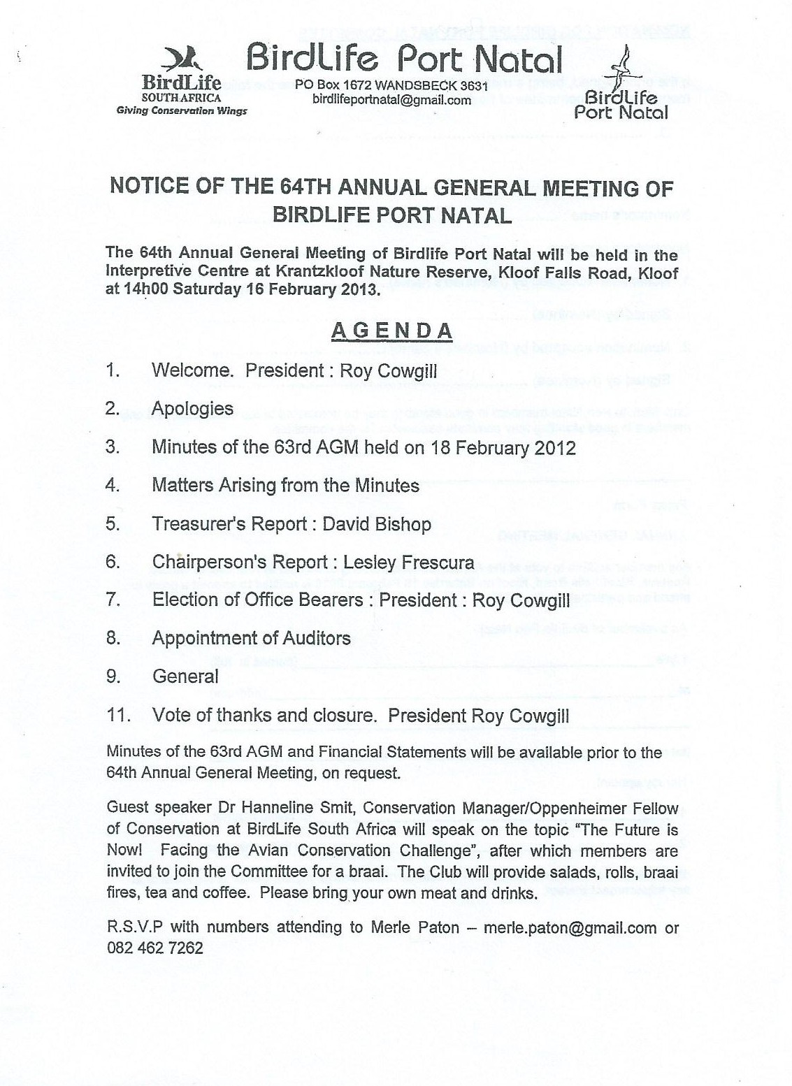 notice of the 64th birdlife port natal agm on sat 16th