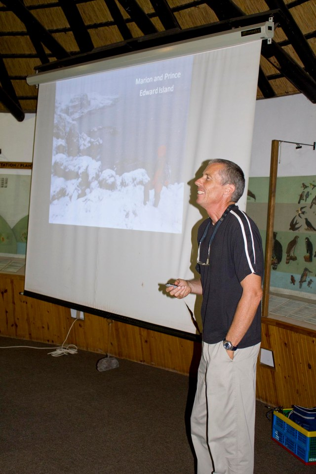 "Peter Ryan in full flow during his talk on ""The Prince Edward Islands: South Africa's next birding frontier""."