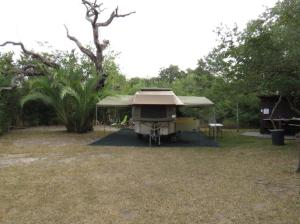 Showing the size of a small campsite with its private ablutions and wash-up area.
