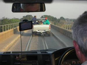 The railway bridge shared by vehicles travelling in either direction!