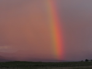 Rainbow on last day - with a glorious sunset